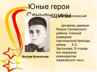 Юные герои Сенненщины Володя Козловский уроженец деревни Мошки Сенненского район