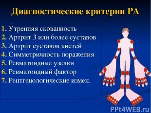 Диагностические критерии РА 1. Утренняя скованность 2. Артрит 3 или более сустав