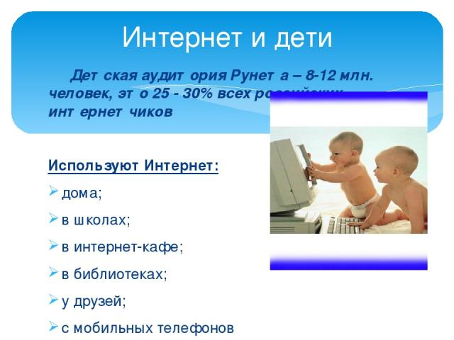 Детская аудитория Рунета – 8-12 млн. человек, это 25 - 30% всех российских интернетчиков Используют Интернет: дома; в школах; в интернет-кафе; в библиотеках; у друзей; с мобильных телефонов С родителями и самостоятельно; Для учебы и для развлечений;…
