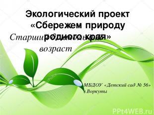 Экологический проект «Сбережем природу родного края» Старший дошкольный возраст