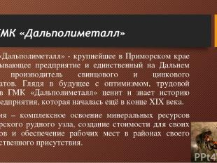 ГМК «Дальполиметалл» - крупнейшее в Приморском крае горнодобывающее предприятие