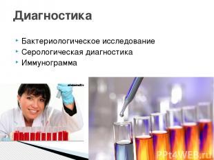 Бактериологическое исследование Серологическая диагностика Иммунограмма Диагност