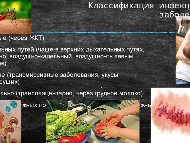 Классификация инфекционных заболеваний: Кишечные (через ЖКТ) Дыхательных путей (чаще в верхних дыхательных путях, аэрогенно, воздушно-капельный, воздушно-пылевым способом) Кровяные (трансмиссивные заболевания, укусы кровососущих) Вертикально (трансп…