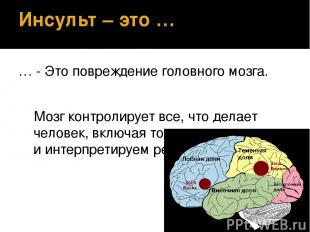 Инсульт – это … … - Это повреждение головного мозга. Мозг контролирует все, что
