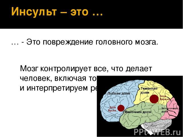 Инсульт – это … … - Это повреждение головного мозга. Мозг контролирует все, что делает человек, включая то, как мы понимаем и интерпретируем речь.