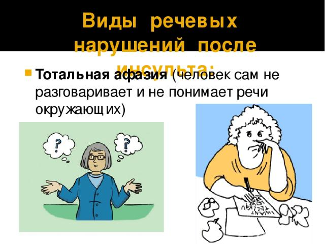 Виды речевых нарушений после инсульта: Тотальная афазия (человек сам не разговаривает и не понимает речи окружающих)