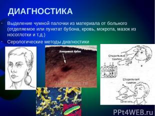 ДИАГНОСТИКА Выделение чумной палочки из материала от больного (отделяемое или пу