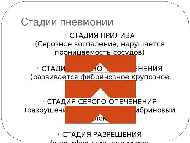 Стадии пневмонии СТАДИЯ ПРИЛИВА (Серозное воспаление, нарушается проницаемость сосудов) СТАДИИ КРАСНОГО ОПЕЧЕНЕНИЯ (развивается фибринозное крупозное воспаление) СТАДИЯ СЕРОГО ОПЕЧЕНЕНИЯ (разрушение эритроцитов и фибриновый блок) СТАДИЯ РАЗРЕШЕНИЯ (…