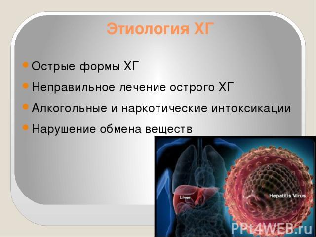 Этиология ХГ Острые формы ХГ Неправильное лечение острого ХГ Алкогольные и наркотические интоксикации Нарушение обмена веществ