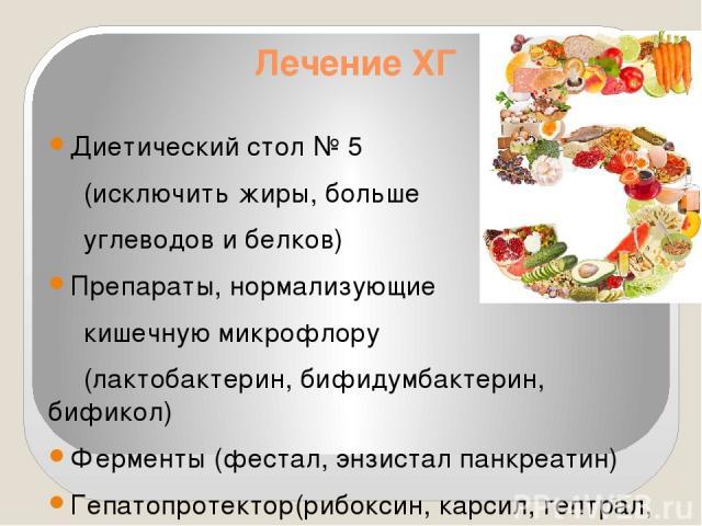 Лечение ХГ Диетический стол № 5 (исключить жиры, больше углеводов и белков) Препараты, нормализующие кишечную микрофлору (лактобактерин, бифидумбактерин, бификол) Ферменты (фестал, энзистал панкреатин) Гепатопротектор(рибоксин, карсил, гептрал, эссе…