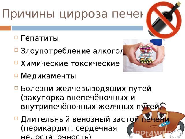 Причины цирроза печени Гепатиты Злоупотребление алкоголем Химические токсические вещества Медикаменты Болезни желчевыводящих путей (закупорка внепечёночных и внутрипечёночных желчных путей) Длительный венозный застой печени (перикардит, сердечная не…
