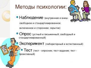 Методы психологии: Наблюдение (внутренние и внешние; свободное и стандартизирова