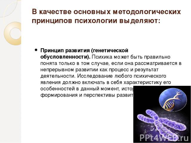 В качестве основных методологических принципов психологии выделяют: Принцип развития (генетической обусловленности).Психика может быть правильно понята только в том случае, если она рассматривается в непрерывном развитии как процесс и результат дея…