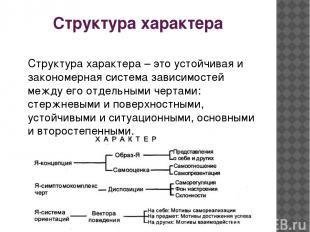 Структура характера Структура характера – это устойчивая и закономерная система