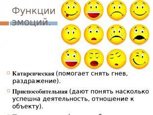 Функции эмоций. Катарсическая (помогает снять гнев, раздражение). Приспособитель