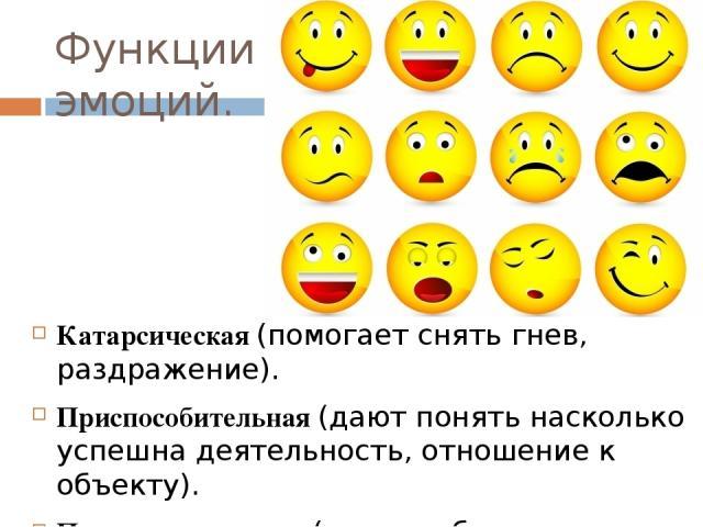 Функции эмоций. Катарсическая (помогает снять гнев, раздражение). Приспособительная (дают понять насколько успешна деятельность, отношение к объекту). Переключательная (часто побуждают человека к изменению своего поведения).