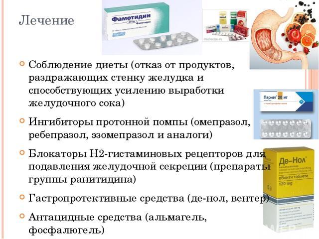 Лечение Соблюдение диеты (отказ от продуктов, раздражающих стенку желудка и способствующих усилению выработки желудочного сока) Ингибиторы протонной помпы (омепразол, ребепразол, эзомепразол и аналоги) Блокаторы Н2-гистаминовых рецепторов для подавл…
