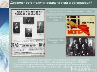 Деятельность политических партий и организаций Активное участие в национально-ос