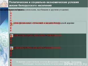 Политические и социально-экономические условия жизни белорусского населения В де