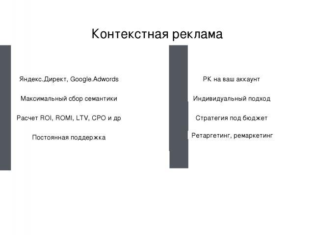 www.royal-m.ru Контекстная реклама Яндекс.Директ, Google.Adwords Максимальный сбор семантики Расчет ROI, ROMI, LTV, CPO и др Постоянная поддержка РК на ваш аккаунт Индивидуальный подход Стратегия под бюджет Ретаргетинг, ремаркетинг