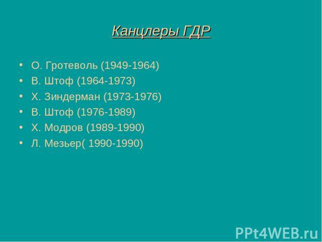 Канцлеры ГДР О. Гротеволь (1949-1964) В. Штоф (1964-1973) Х. Зиндерман (1973-1976) В. Штоф (1976-1989) Х. Модров (1989-1990) Л. Мезьер( 1990-1990)