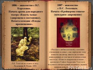 * 1886 – знакомство с В.Г. Короленко. Начата драма для народного театра «Власть