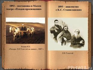 * 1892 – постановка в Малом театре «Плодов просвещения» 1893 - знакомство с К.С.