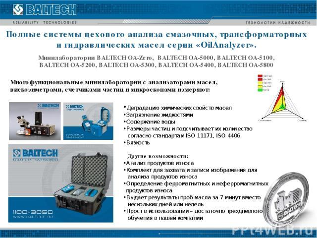 Деградацию химических свойств масел • Загрязнение жидкостями • Содержание воды • Размеры частиц и подсчитывает их количество согласно стандартам ISO 11171, ISO 4406 • Вязкость Другие возможности: • Анализ продуктов износа • Комплект для захвата и за…