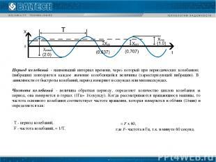 Т - период колебаний. F - частота колебаний, = 1/Т. ω = F х 60,  где F- ча