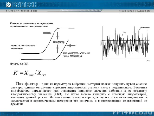 Пик-фактор - один из параметров вибрации, который нельзя получить путем анализа спектра, однако он служит хорошим индикатором степени износа подшипников. Величина пик-фактора определяется как отношение пикового значения вибрации к ее среднему квадра…