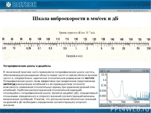 Шкала виброскорости в мм/сек и дБ Логарифмические шкалы и децибелы В технической практике часто применяется логарифмическая шкала частоты, обеспечивающая расширение области низких частот и сжатие области высоких частот и, следовательно, идентичное о…