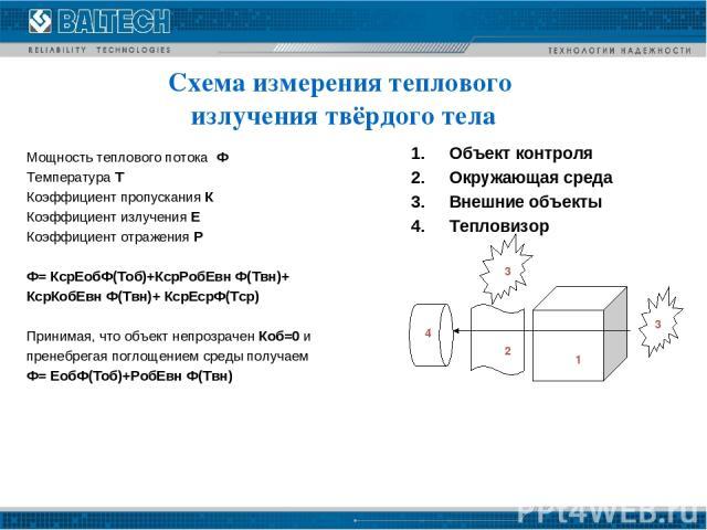 Мощность теплового потока Ф Температура Т Коэффициент пропускания К Коэффициент излучения Е Коэффициент отражения Р Ф= КсрЕобФ(Тоб)+КсрРобЕвн Ф(Твн)+ КсрКобЕвн Ф(Твн)+ КсрЕсрФ(Тср) Принимая, что объект непрозрачен Коб=0 и пренебрегая поглощением сре…