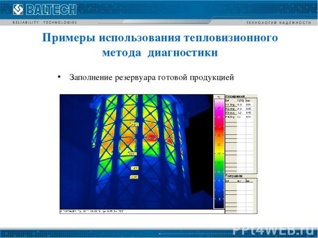 Заполнение резервуара готовой продукцией Примеры использования тепловизионного метода диагностики