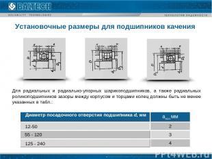 Установочные размеры для подшипников качения Для радиальных и радиально-упорных