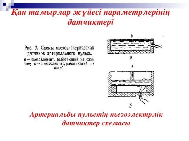 Артериальды пульстің пьезоэлектрлік датчиктер схемасы Қан тамырлар жүйесі параметрлерінің датчиктері