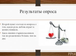 Результаты опроса Второй пункт состоял из вопроса о том, какую роль любовь играе