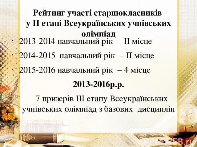 Рейтинг участі старшокласників у ІІ етапі Всеукраїнських учнівських олімпіад 2013-2014 навчальний рік – ІІ місце 2014-2015 навчальний рік – ІІ місце 2015-2016 навчальний рік – 4 місце 2013-2016р.р. 7 призерів ІІІ етапу Всеукраїнських учнівських олім…