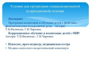 Условия для организации специализированной (коррекционной) помощи Логопункт Прог