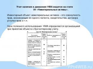 Учет наличия и движения НМА ведется на счете 04 «Нематериальные активы». Инвента