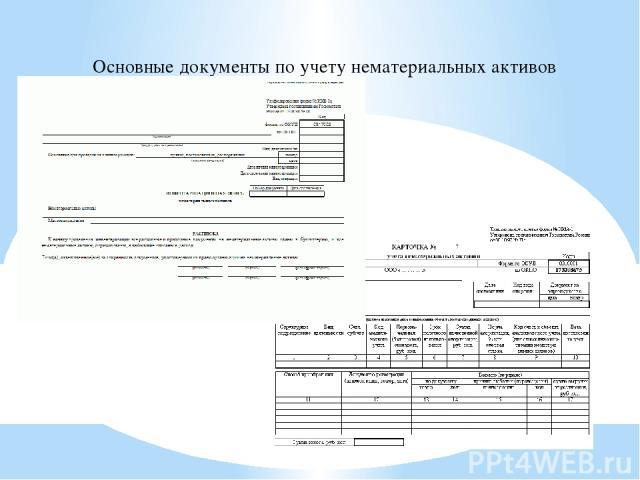 Основные документы по учету нематериальных активов