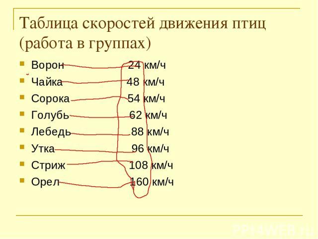 Таблица скоростей движения птиц (работа в группах) Ворон 24 км/ч Чайка 48 км/ч Сорока 54 км/ч Голубь 62 км/ч Лебедь 88 км/ч Утка 96 км/ч Стриж 108 км/ч Орел 160 км/ч