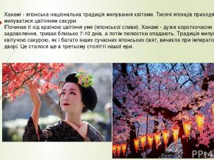 Ханамі - японська національна традиція милування квітами. Тисячі японців приходя