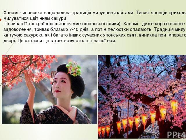 Ханамі - японська національна традиція милування квітами. Тисячі японців приходять в парки милуватися цвітінням сакури lПочинає її хід країною цвітіння уме (японської сливи). Ханамі - дуже короткочасне задоволення, триває близько 7-10 днів, а потім …