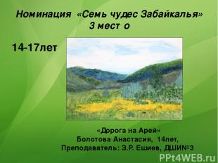 Номинация «Семь чудес Забайкалья» 3 место 14-17лет «Дорога на Арей» Болотова Ана