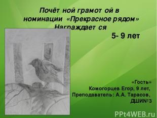 Почётной грамотой в номинации «Прекрасное рядом» Награждается «Гость» Комогорцев