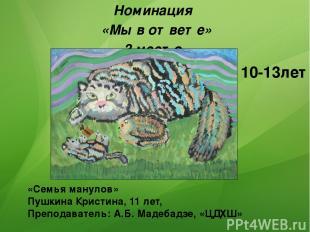 «Семья манулов» Пушкина Кристина, 11 лет, Преподаватель: А.Б. Мадебадзе, «ЦДХШ»