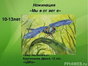 «Мир насекомых» Брусенцова Дарья, 12 лет, «ЦДХШ» Номинация «Мы в ответе» 1 место