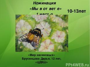 Номинация «Мы в ответе» 1 место 10-13лет «Мир насекомых» Брусенцова Дарья, 12 ле