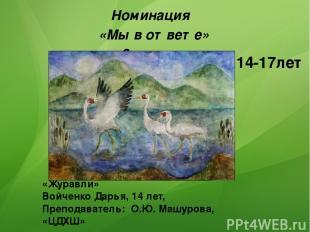 «Журавли» Войченко Дарья, 14 лет, Преподаватель: О.Ю. Машурова, «ЦДХШ» Номинация