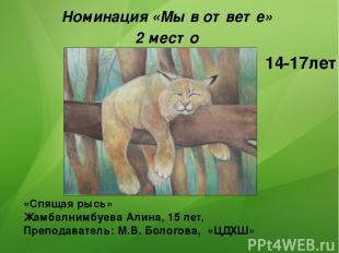 «Спящая рысь» Жамбалнимбуева Алина, 15 лет, Преподаватель: М.В. Бологова, «ЦДХШ»